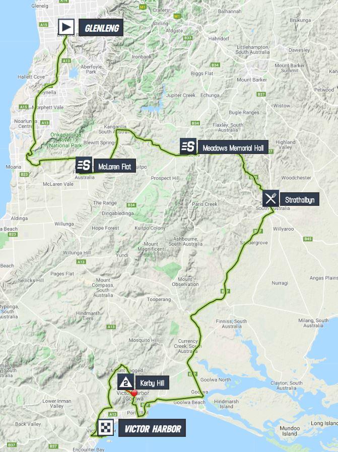 Santos Tour Down Under 2020 Tour-down-under-2020-stage-5-map-37a91d2807